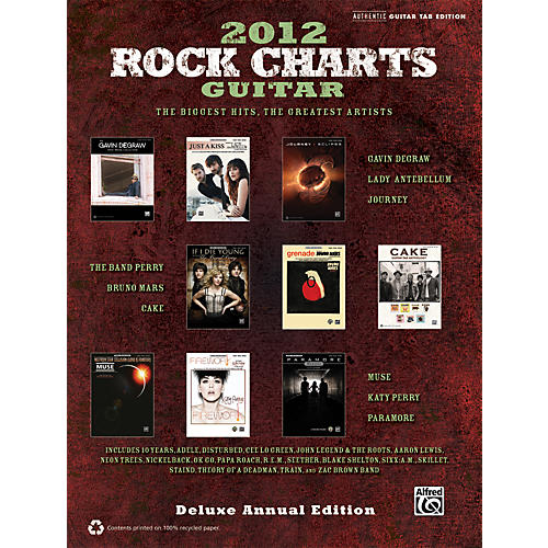 Alfred Rock Charts Guitar 2012 Deluxe Annual Edition TAB Book