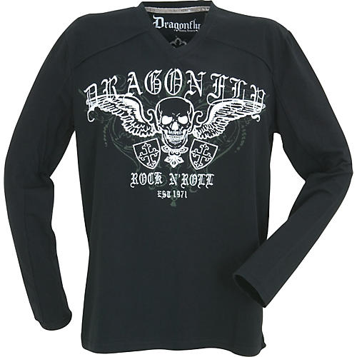 Dragonfly Clothing Rock N Roll Skull with Crosses Long-Sleeve Men's T-Shirt