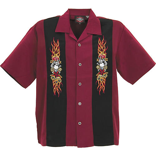 Dragonfly Clothing Rockabilly Tattoo Embroidered Panel Shirt