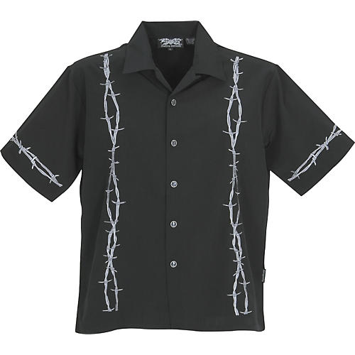 Dragonfly Clothing Rolled Up Barbed-Wire Embroidered Woven Shirt