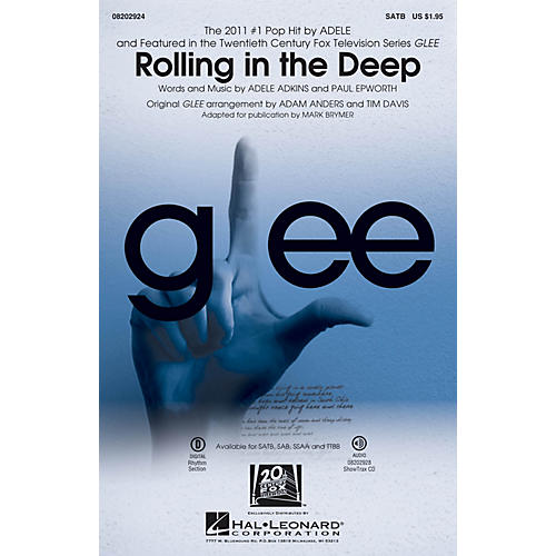 Hal Leonard Rolling in the Deep SATB by Adele arranged by Adam Anders
