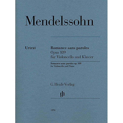 G. Henle Verlag Romances sans paroles, Op. 109 (Cello and Piano) Henle Music Folios Series Softcover