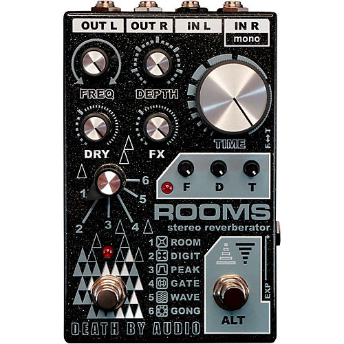 Death By Audio Rooms Stereo Reverb Effects Pedal Black Sparkle