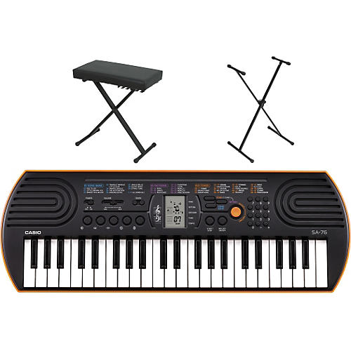 Casio SA-76 Keyboard with Stand and Bench Orange