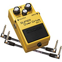 Open Box Boss SD-1 Super OverDrive Effects Pedal and Two 6-Inch Jumper Cables Bundle