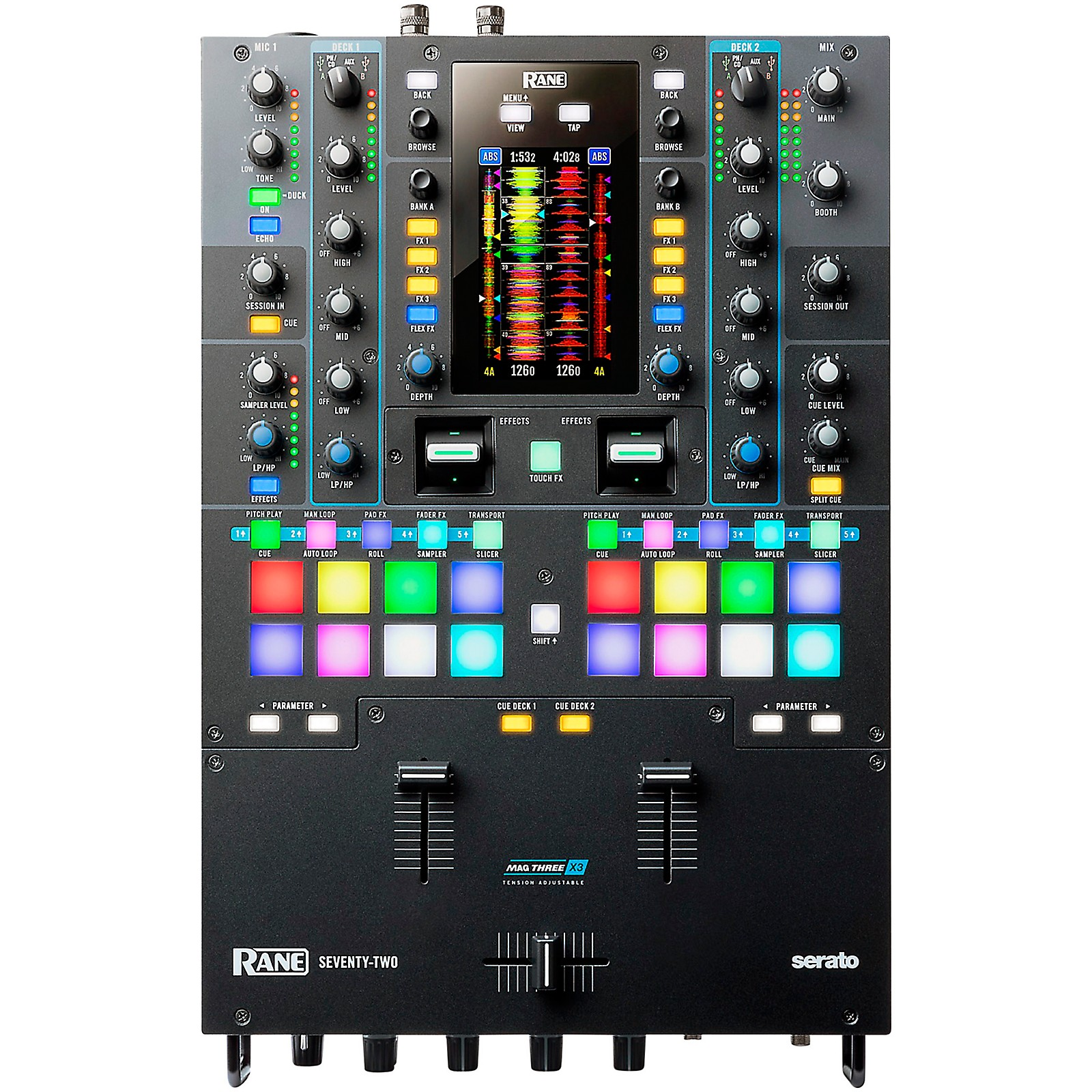 RANE DJ SEVENTY-TWO Battle-Ready 2-channel DJ Mixer with Touchscreen and Serato DJ