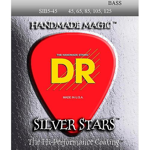 DR Strings SIB-45-125 Silver Stars Coated 5 String Bass Guitar Strings