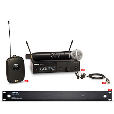 Shure SLXD 2 Handheld and 2 Lavalier Microphone Wireless Bundle