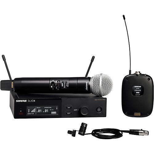 Shure SLXD124/85 Combo System with SLXD1 Bodypack, SLXD4 Receiver, SM58 and WL185 Lavalier Microphone Band G58