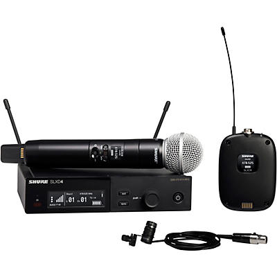 Shure SLXD124/85 Combo System with SLXD1 Bodypack, SLXD4 Receiver, SM58 and WL185 Lavalier Microphone