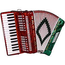 SM-3232 32 Piano 32 Bass Accordion Red and Green Pearl