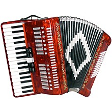 SM 3472 34 Piano 72 Bass Button Accordion Red Pearl