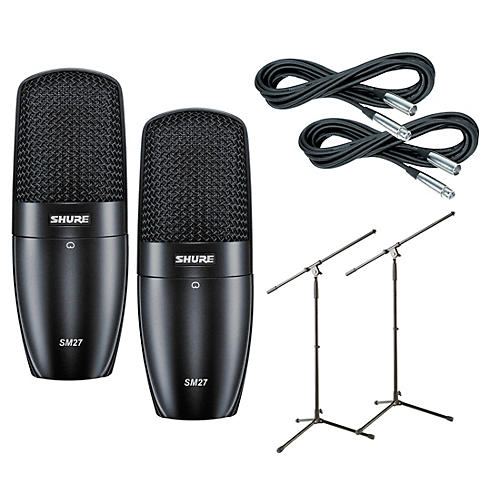 Shure SM27SC Condenser Mic w Cable and Stand 2 Pk