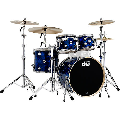 DW SSC Collector's Series 4-Piece Shell Pack Blue Moonstone Chrome Hardware