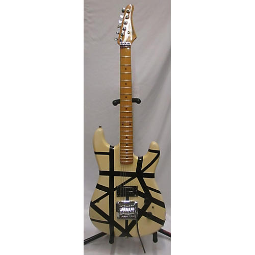 Hohner ST METAL STRIPES Solid Body Electric Guitar Black and White