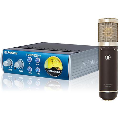 Sterling Audio ST55 Condenser Mic with TubePre V2 Mic Preamp Mic Bundle