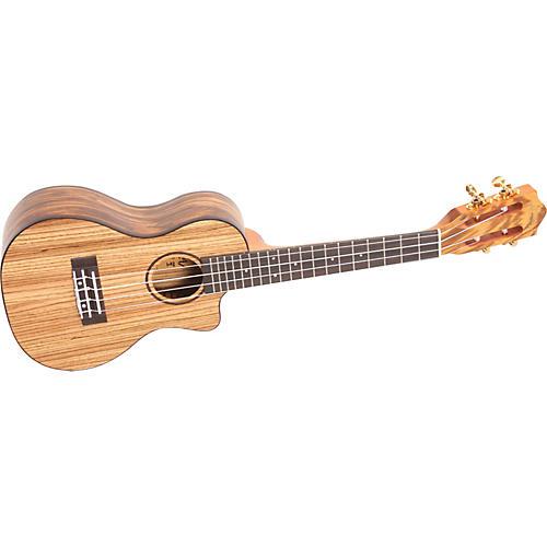 Lanikai SZW-CCA Solid Zebrawood Concert Cutaway Acoustic-Electric Ukulele