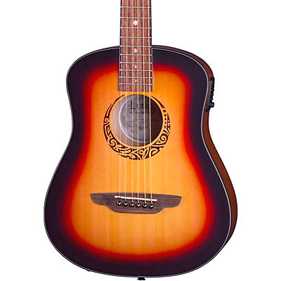 Luna Guitars Safari Tribal Travel Acoustic-Electric Left-Handed Guitar