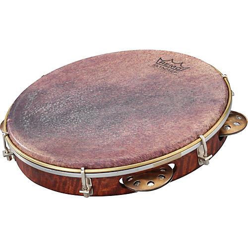 Remo Samba Choro Pandeiro with Brass Jingles Goat Brown 10 In x 1.78 In