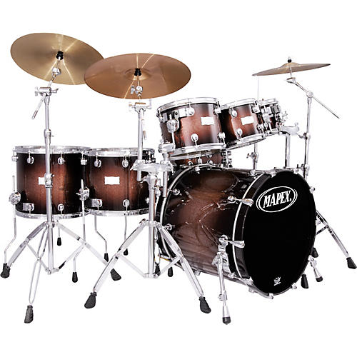 Mapex Saturn Plus Bass Fusion Pop 22 7 Piece Drum Set