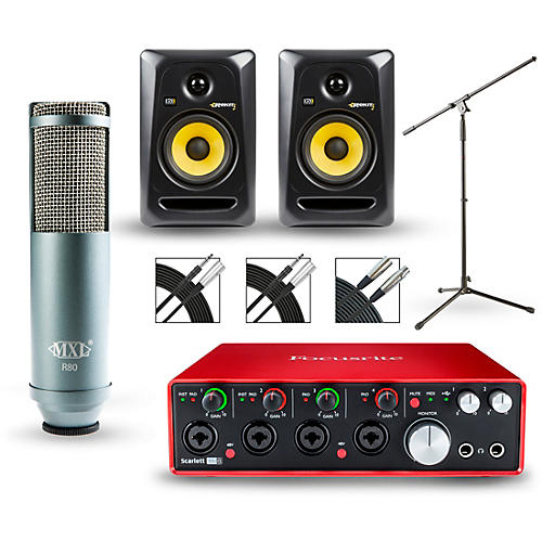 Focusrite Scarlett 18i8 2nd Gen Interface with MXL R80 and Rokit RP5G3 Pair