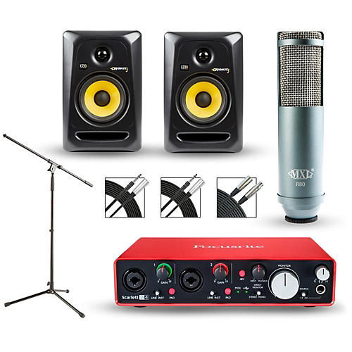 Focusrite Scarlett 2i4 Recording Package with MXL R80 and Rokit RP5G3 Pair