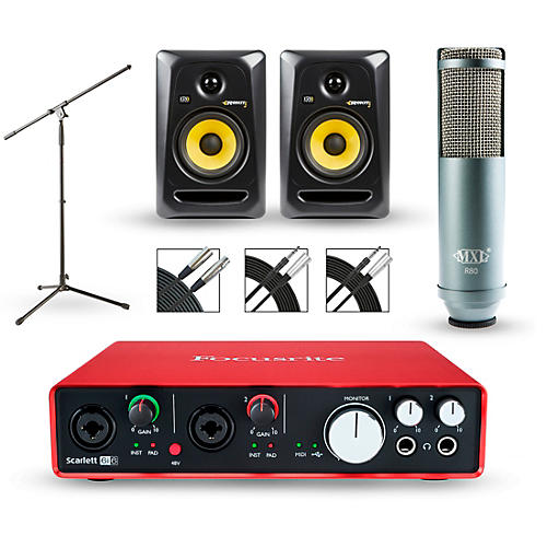 Focusrite Scarlett 6i6 Recording Package with MXL R80 and Rokit RP5G3 Pair