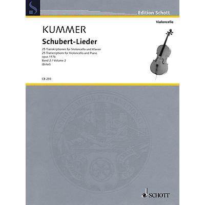 Schott Schubert-Lieder Op. 117b (25 Transcriptions for Cello and Piano - Volume 2) String Series Softcover