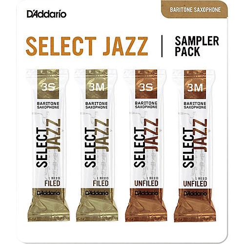 D'Addario Woodwinds Select Jazz Baritone Saxophone Reed Sampler Pack 3