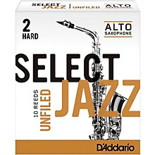 Select Jazz Unfiled Alto Saxophone Reeds Strength 2 Hard Box of 10
