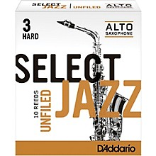 Select Jazz Unfiled Alto Saxophone Reeds Strength 3 Hard Box of 10
