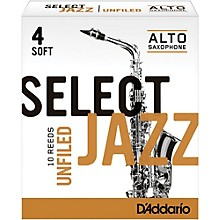 Select Jazz Unfiled Alto Saxophone Reeds Strength 4 Soft Box of 10