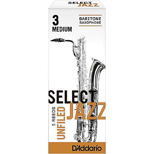 D'Addario Woodwinds Select Jazz Unfiled Baritone Saxophone Reeds Strength 3 Medium Box of 5