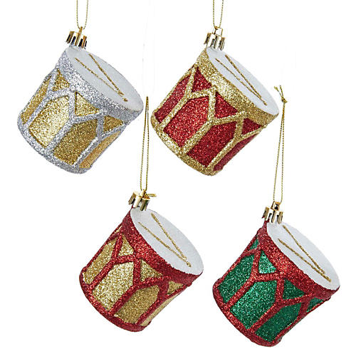 Kurt S. Adler Shatterproof Glitter Drum Ornament 4/Assorted