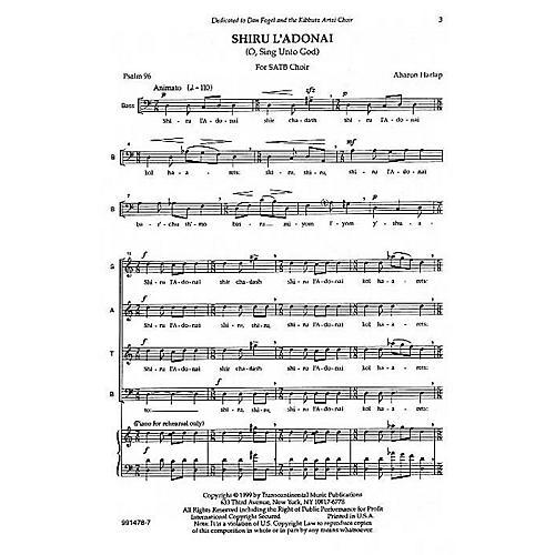 Transcontinental Music Shiru L'adonai (O Sing Unto God) SATB composed by Aahron Harlap