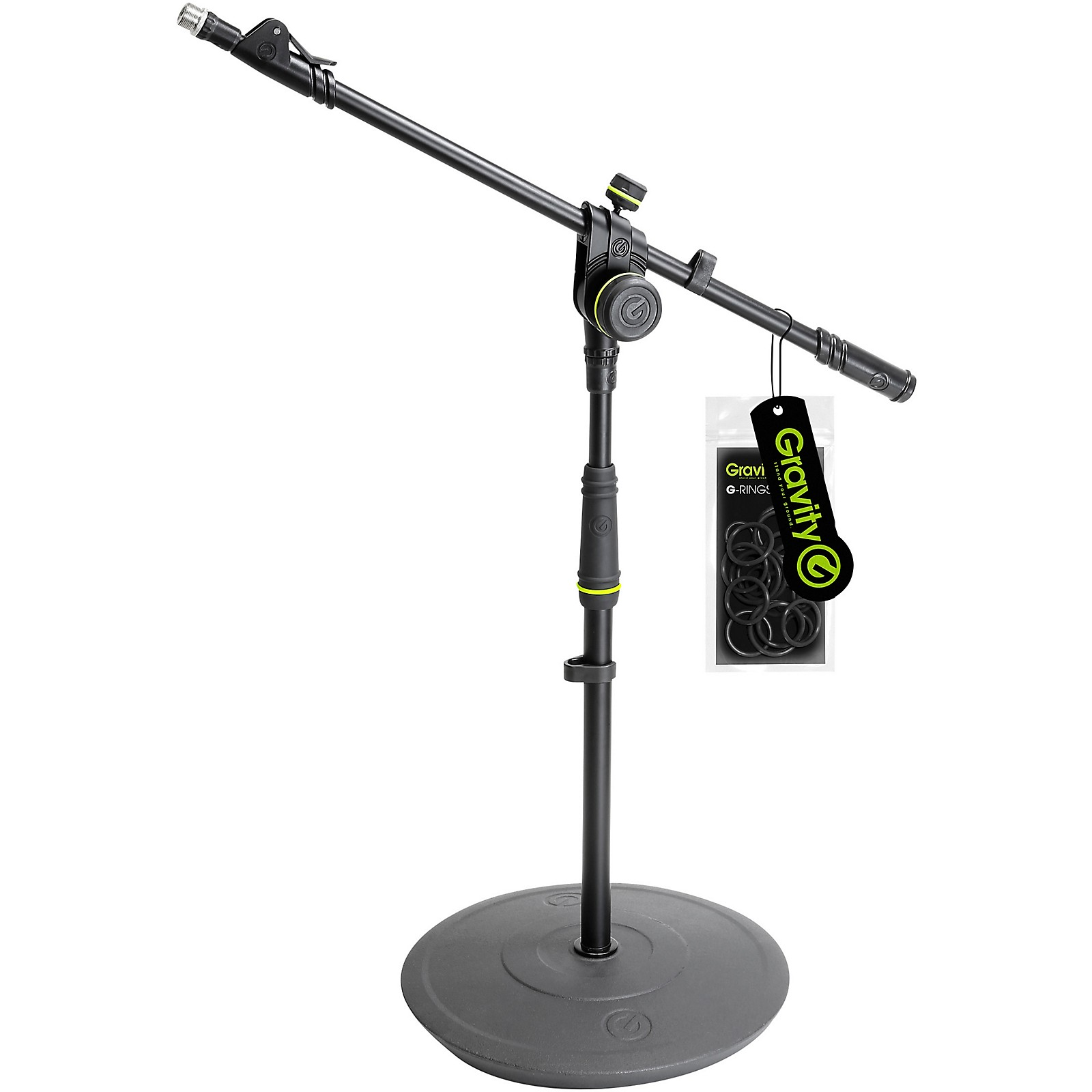 Gravity Stands Short Microphone Stand With Round Base And 2-Point Adjustment Telescoping Boom