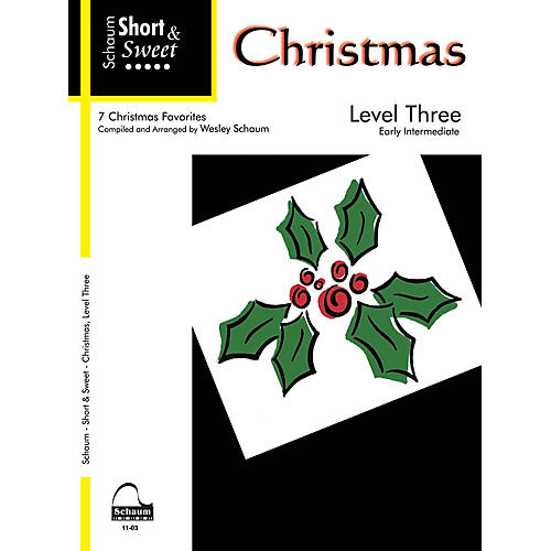 SCHAUM Short & Sweet: Christmas (Level 3 Early Inter Level) Educational Piano Book