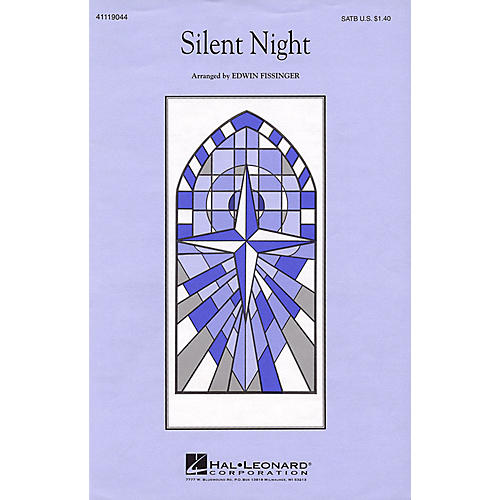 Hal Leonard Silent Night SATB a cappella arranged by Edwin Fissinger