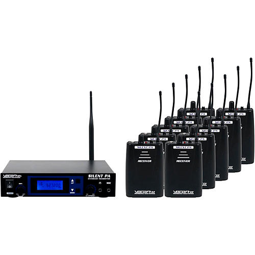 VocoPro SilentPA-SEMINAR10 16CH UHF Wireless Audio Broadcast System (Stationary Transmitter with ten bodypack receivers) Black