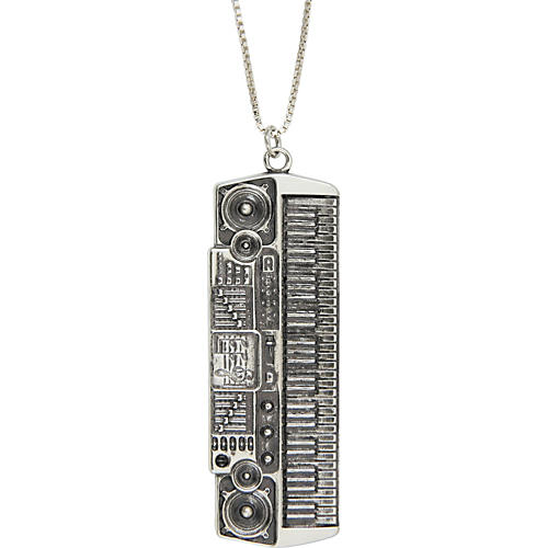 Jeffrey David Silver Electric Keyboard Pendant Necklace