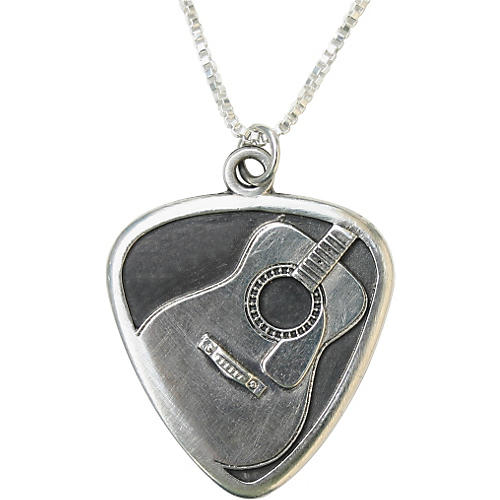 Jeffrey David Silver Guitar Pick with Acoustic Guitar Pendant and Chain