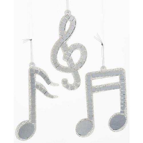Kurt S. Adler Silver Mirror Musical Note Ornament 3/Assorted