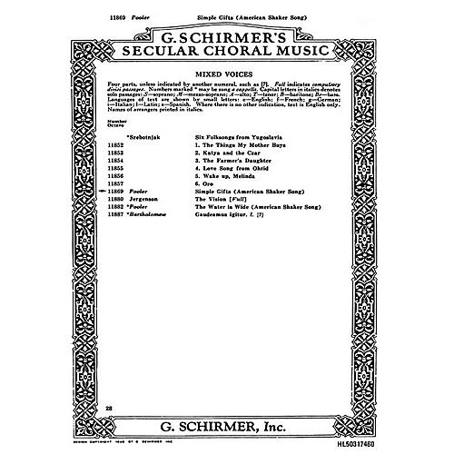 G. Schirmer Simple Gifts American Shaker Song With Piano SATB composed by Folk Song