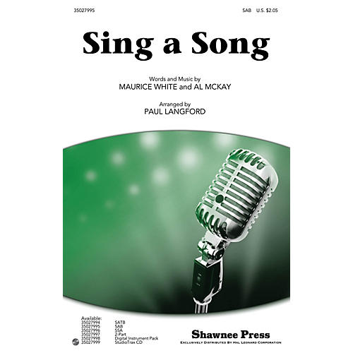 Shawnee Press Sing a Song SAB by Earth, Wind & Fire arranged by Paul Langford