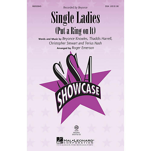 Hal Leonard Single Ladies (Put a Ring on It) SSA by Beyonce arranged by Roger Emerson