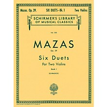 G. Schirmer Six Duets Op 39 Book 1 for 2 Violins By Mazas