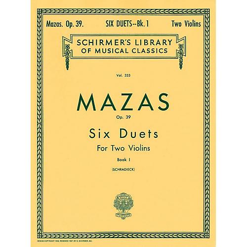 G. Schirmer Six Duets Op 39 Book 1 for 2 Violins By Mazas