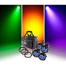 CHAUVET DJ SlimPACK Q12 USB - 4 SlimPAR Q12 USB Wash Lights and 3 DMX Cables with Custom Gear Bag