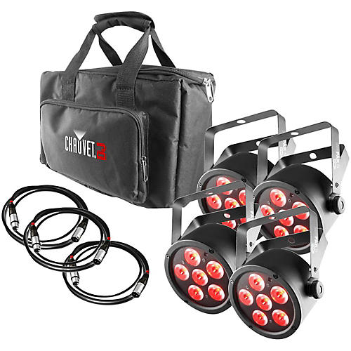 CHAUVET DJ SlimPACK T6 USB - 4 SlimPAR T6 USB Lights and 3 DMX Cables with Gear Bag