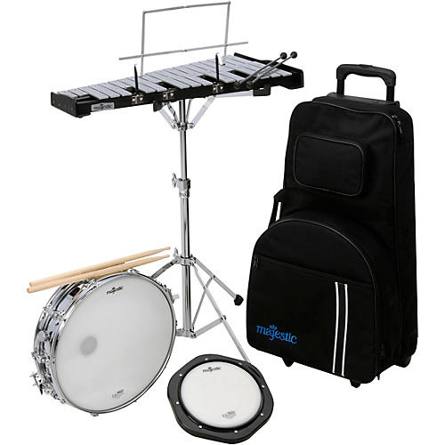 Snare Drum , Bell and Practice Pad Kit With Rolling Cart